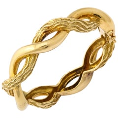 1970s Tiffany & Co. Polished and Textured Gold Bangle Bracelet