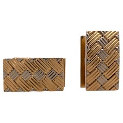 1970's Tiffany & Co. Two Tone 14 Karat Gold Rectangular Men's Vintage Cufflinks