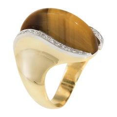 1970s Tigers Eye Diamond Cocktail Ring Vintage 18 Karat Gold Estate Jewelry