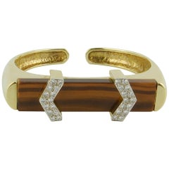 1970s Tiger's Eye Diamond Yellow Gold Bracelet