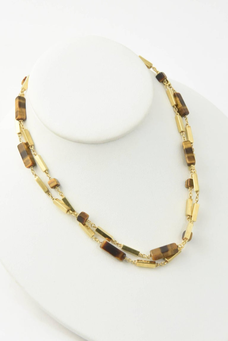 1970s Tiger's Eye Gold Bar Necklace For Sale 3
