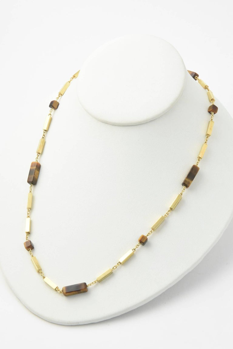1970s Tiger's Eye Gold Bar Necklace For Sale 4