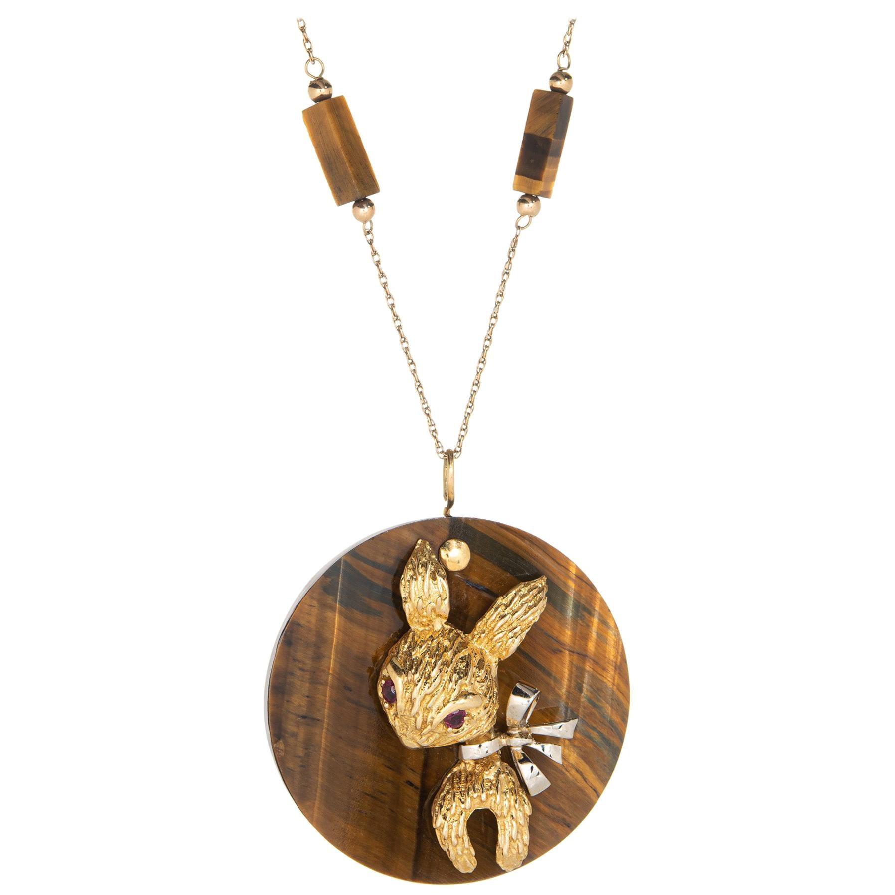 1970s Tigers Eye Rabbit Medallion Necklace Vintage 14 Karat Gold Animal Jewelry