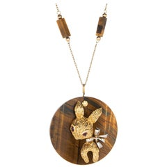 1970s Tigers Eye Rabbit Medallion Necklace Vintage 14 Karat Gold Animal Jewelry