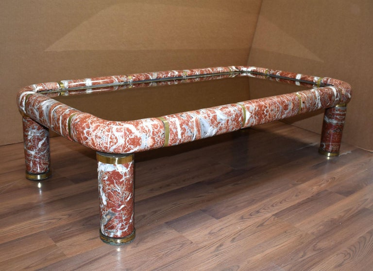 Italian porcelain, ceramic rectangular coffee table with brass detail and mirror top by Tommaso Barbi.