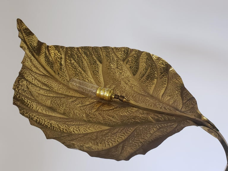 1970s Tommaso Barbi 'Rhubarb' Twin Brass Leaves Floor Lamp, Italy In Good Condition For Sale In St- Leonard, Quebec