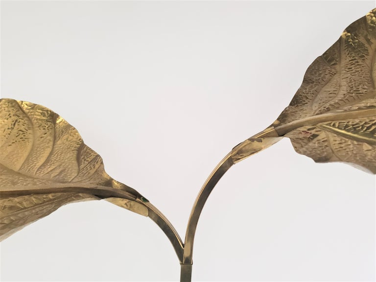 1970s Tommaso Barbi 'Rhubarb' Twin Brass Leaves Floor Lamp, Italy For Sale 3