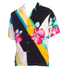 1970S Tony Montana Style Rayon Hawaiian Shirt