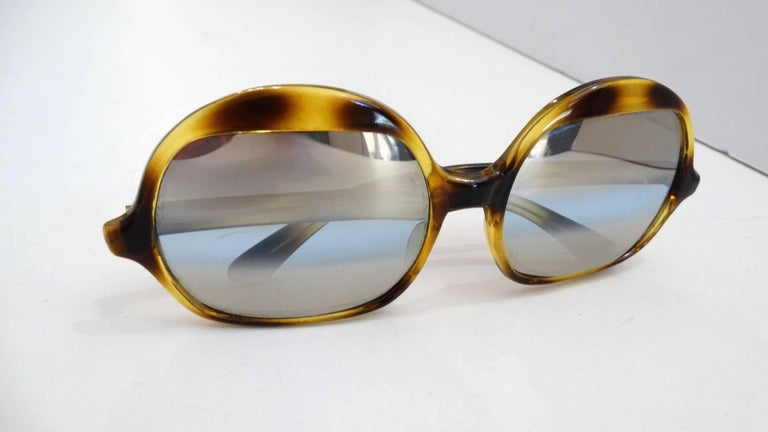 1970s Tortoise Oversized Mod Sunglasses For Sale 2