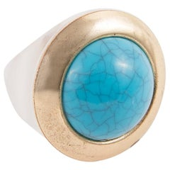 1970s Transparent Resin and Turquoise Ring