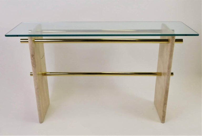 1970s Travertine and Brass Glass Top Console Sofa Table For Sale 6