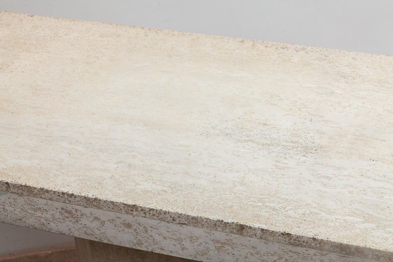 Hand-Crafted 1970s Travertine Console, Italy For Sale