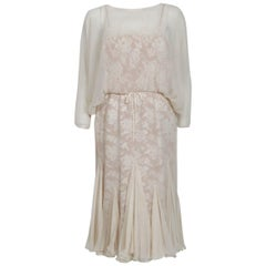 1970's Travilla Ivory Silk-Chiffon and Lace Illusion Dolman Sleeve Pleated Dress