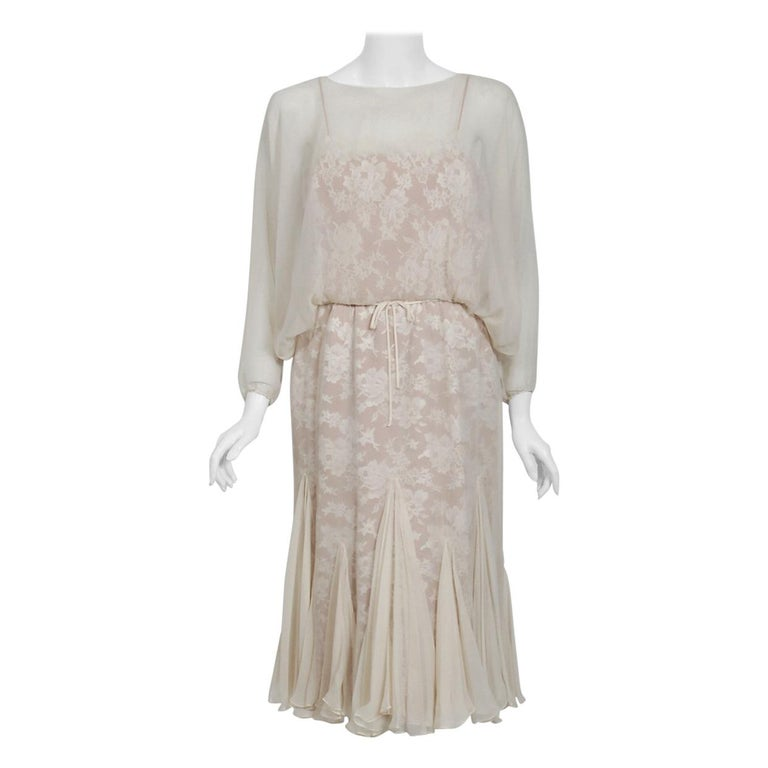 1970's Travilla Ivory Silk-Chiffon and Lace Illusion Dolman Sleeve Pleated Dress For Sale
