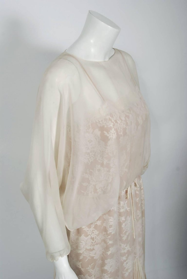 Gray 1970's Travilla Ivory Silk-Chiffon and Lace Illusion Dolman Sleeve Pleated Dress For Sale