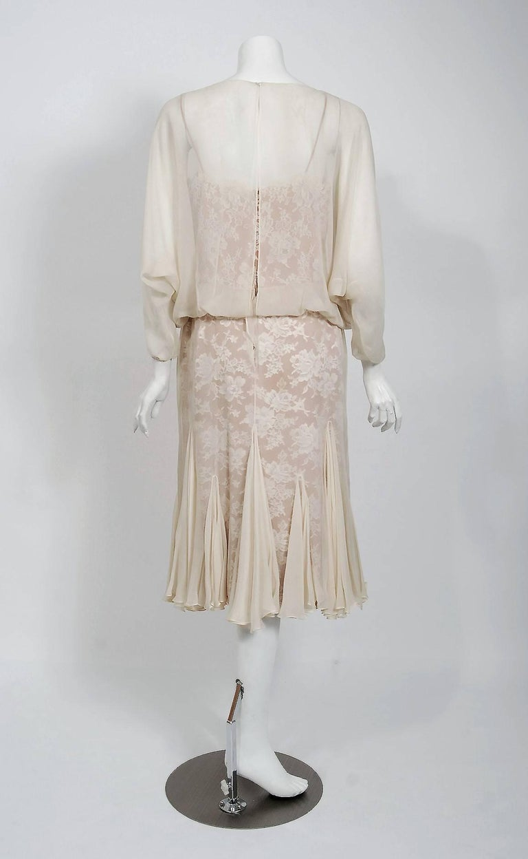 1970's Travilla Ivory Silk-Chiffon and Lace Illusion Dolman Sleeve Pleated Dress For Sale 1