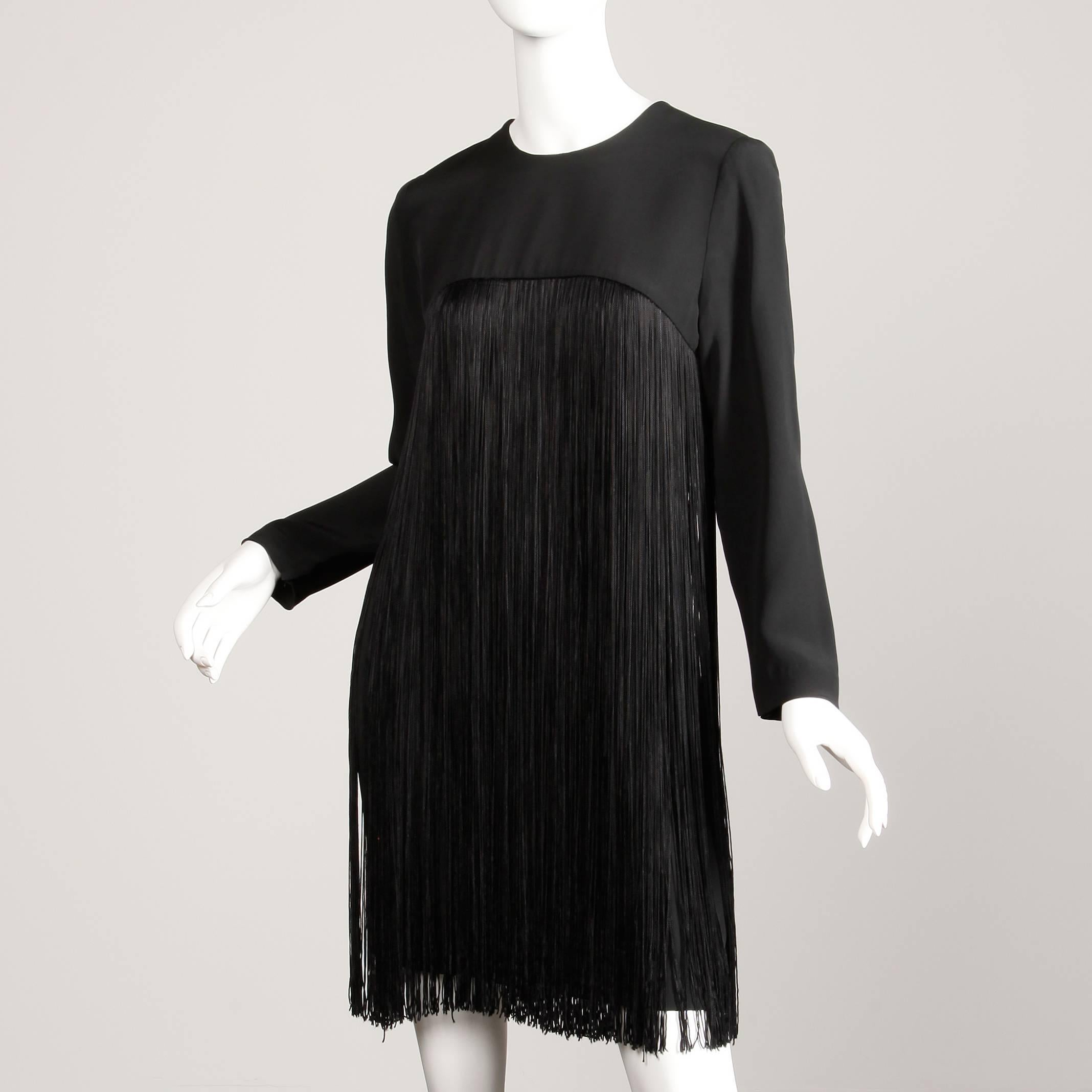 6845297a77e7 1970s Travilla Vintage Black Long Sleeve Flapper Fringe Cocktail Dress For  Sale at 1stdibs