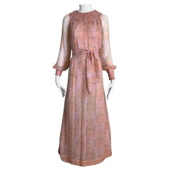 1970s Treacy Lowe Light Pink Floral Print Silk Chiffon Long Sleeve Maxi Dress