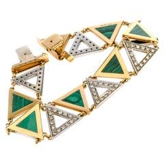1970s Triangular Malachite Diamond 18 Karat Yellow Gold Bracelet
