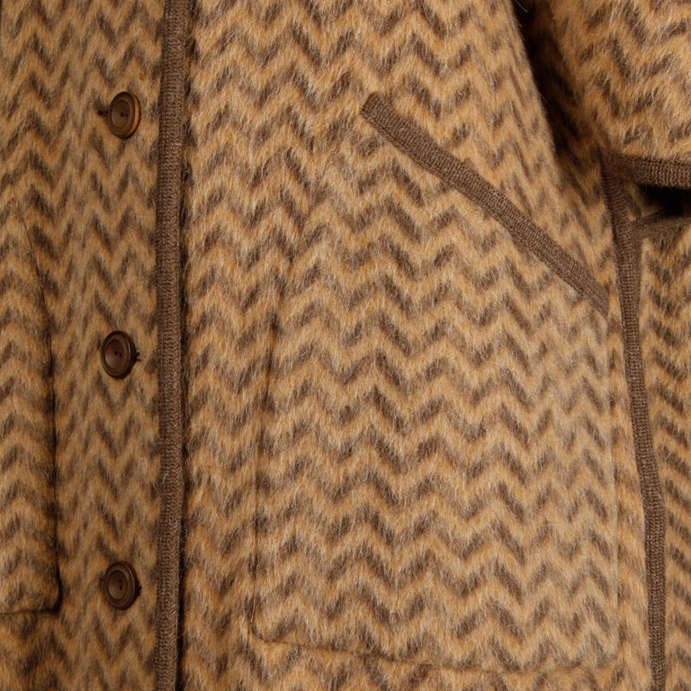 1970s Tricosa France Vintage Wool/ Mohair Striped Chevron Blanket Cape Coat For Sale 9