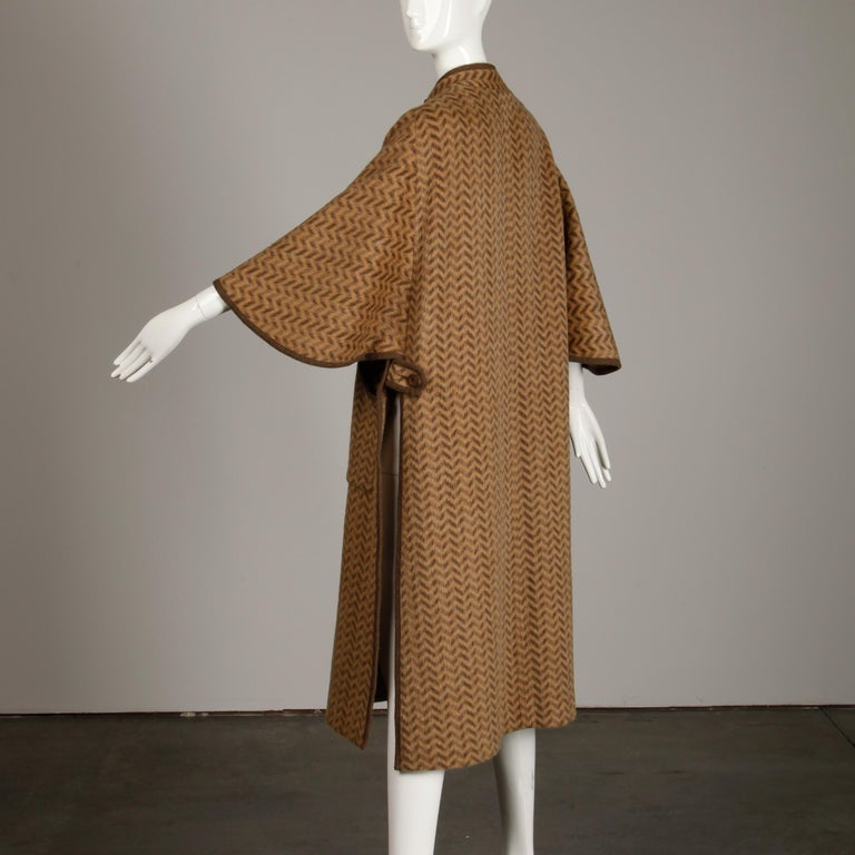 1970s Tricosa France Vintage Wool/ Mohair Striped Chevron Blanket Cape Coat For Sale 1