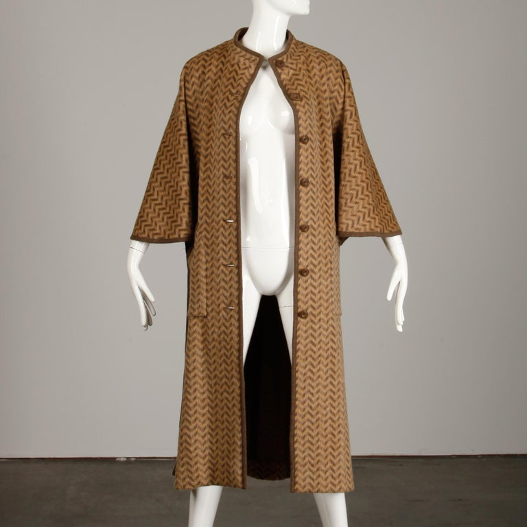 1970s Tricosa France Vintage Wool/ Mohair Striped Chevron Blanket Cape Coat For Sale 2