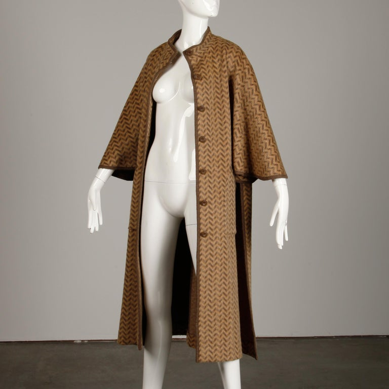 1970s Tricosa France Vintage Wool/ Mohair Striped Chevron Blanket Cape Coat For Sale 4