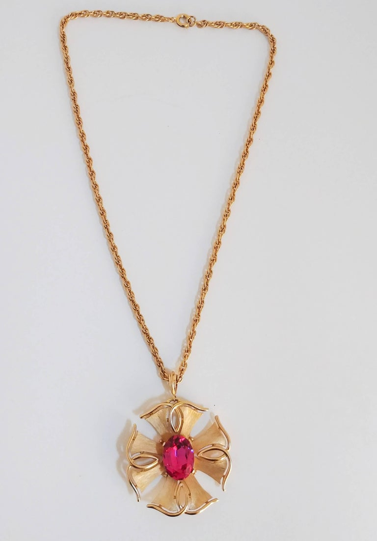 Women's 1970s Trierai Magenta and Gold Pendant and Earring Set For Sale