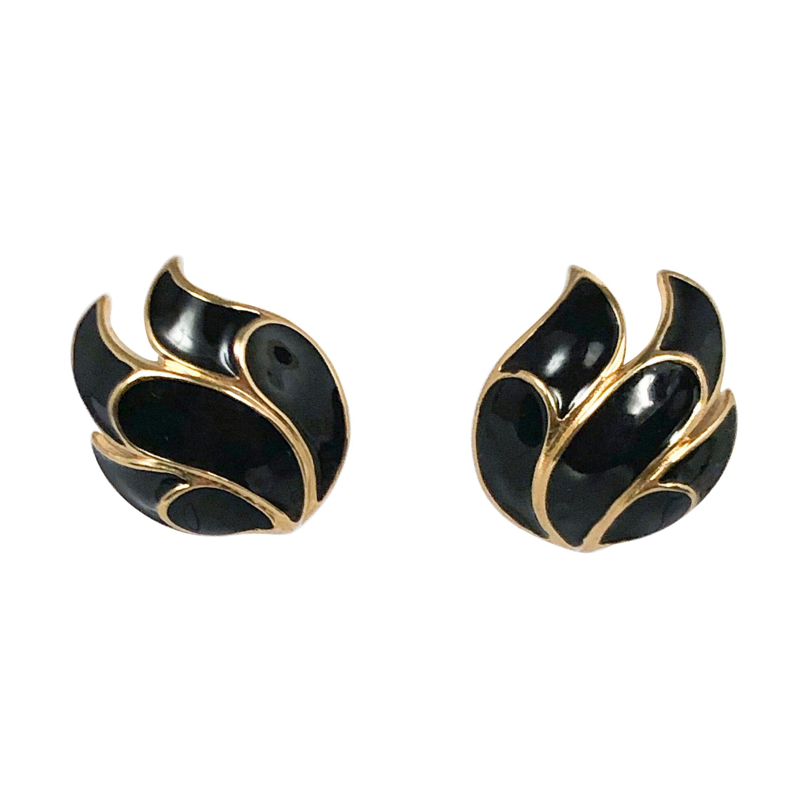 1970s TRIFARI Muted Tones Enameled Post Earrings