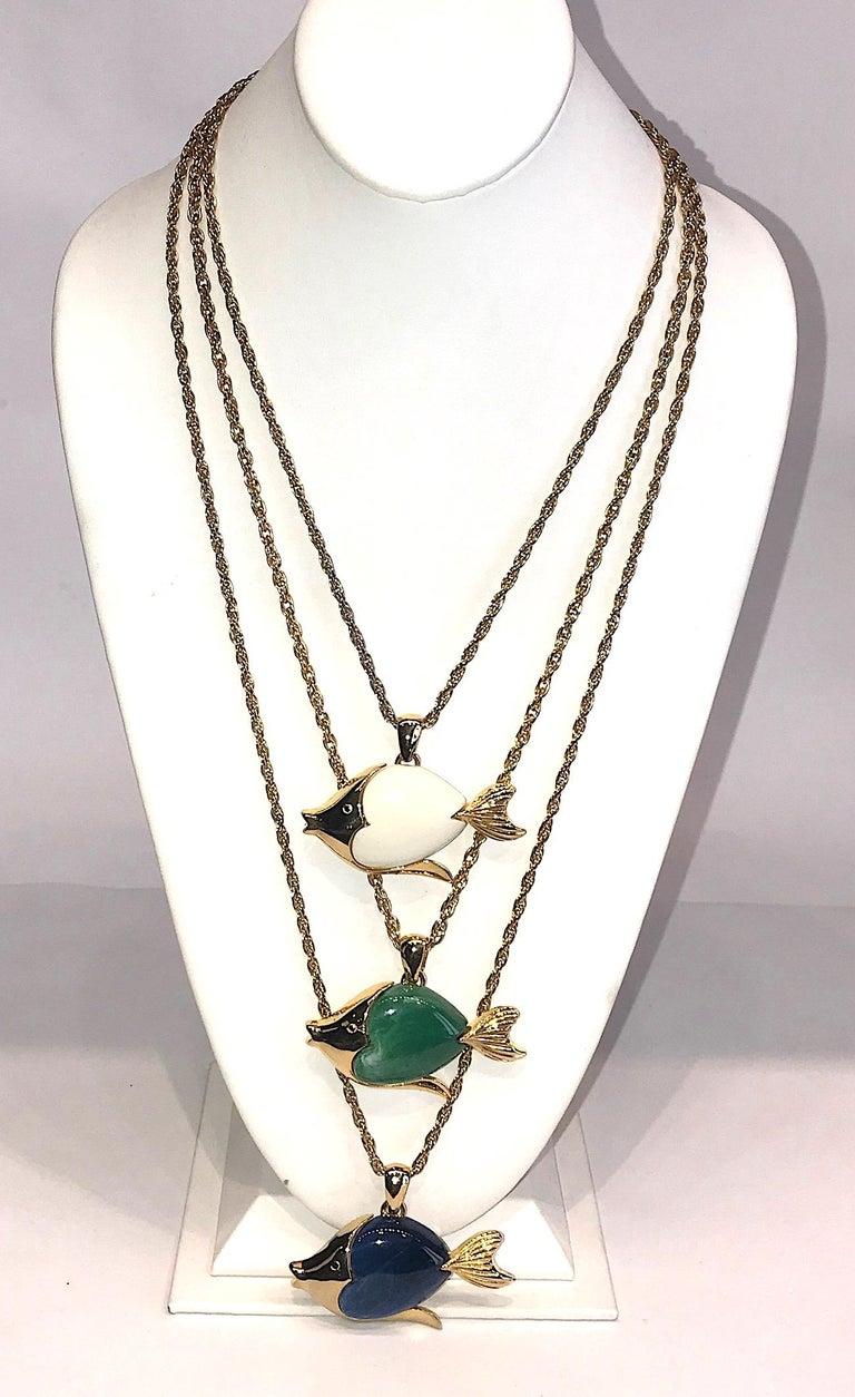Modern 1970s Triple Fish Pendant Necklace