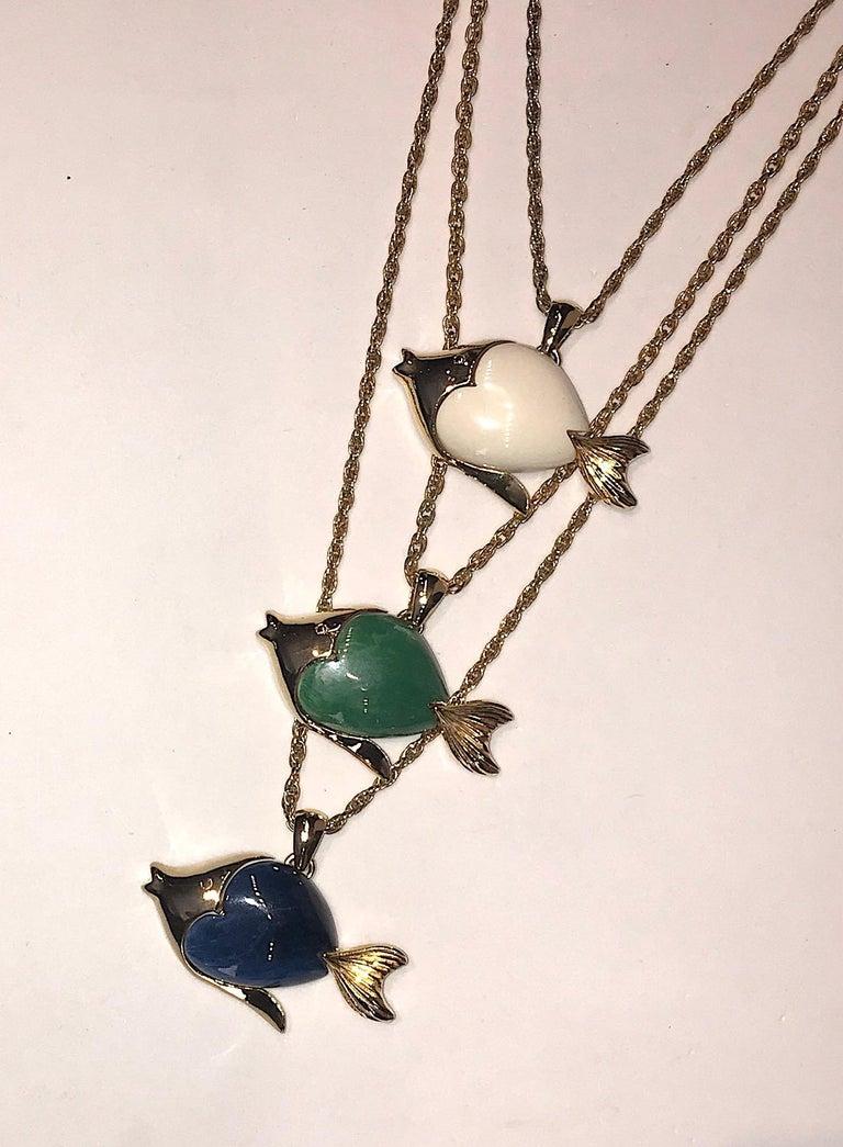 Women's 1970s Triple Fish Pendant Necklace