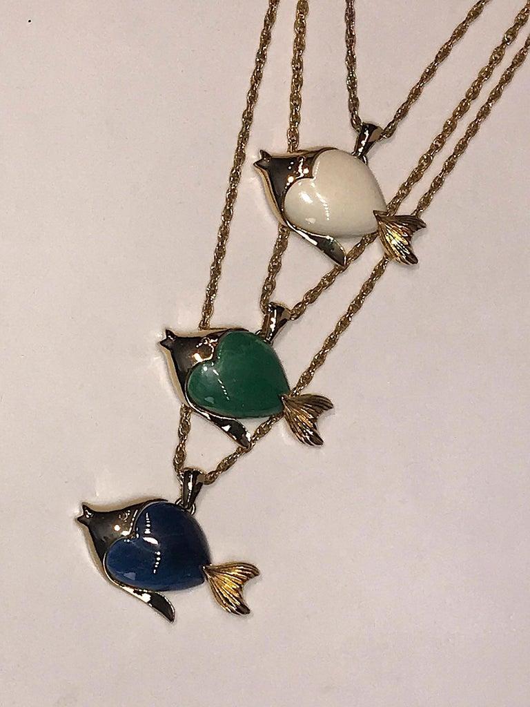 1970s Triple Fish Pendant Necklace 1