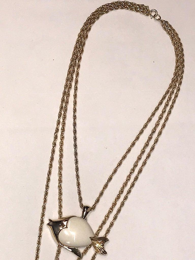 1970s Triple Fish Pendant Necklace 2