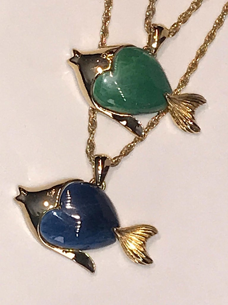 1970s Triple Fish Pendant Necklace 3