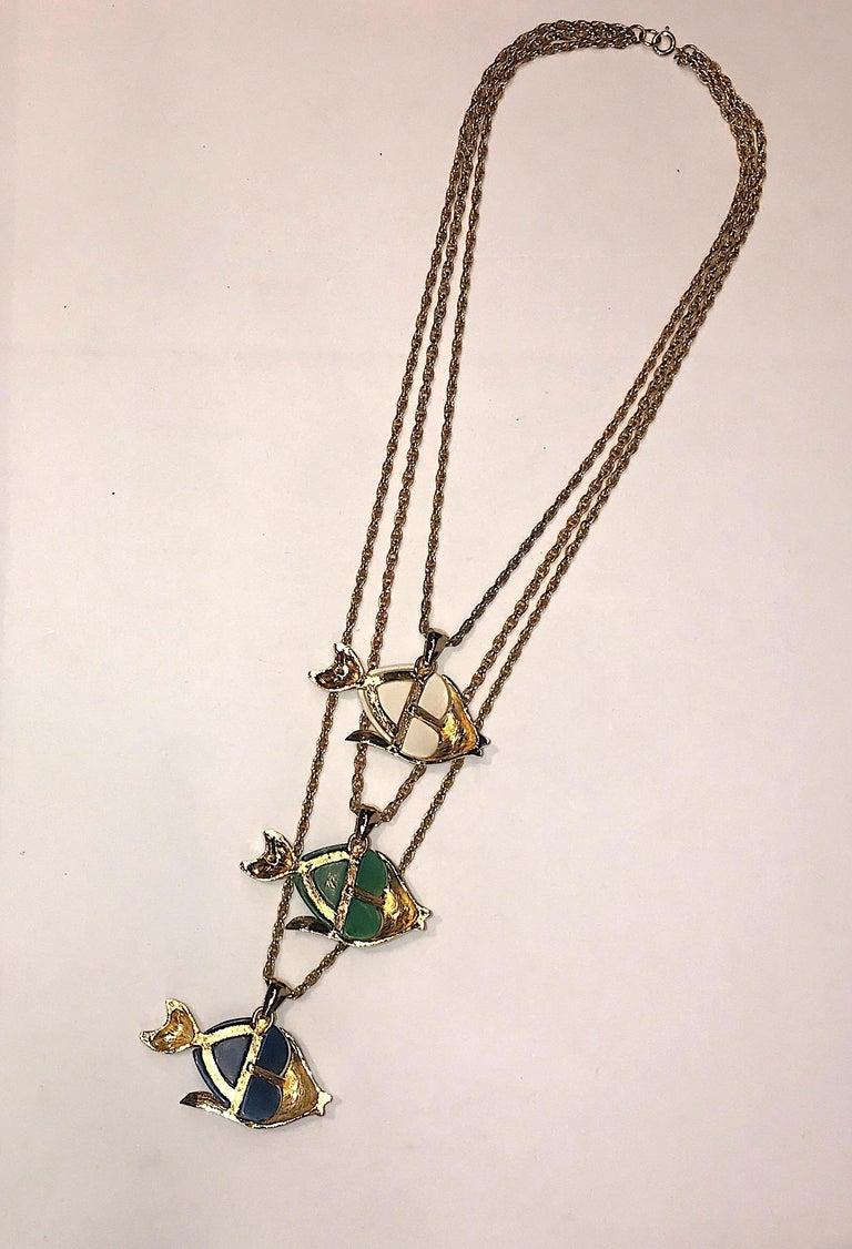 1970s Triple Fish Pendant Necklace 4