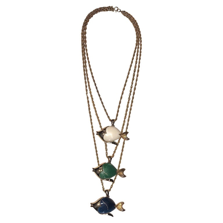 1970s Triple Fish Pendant Necklace