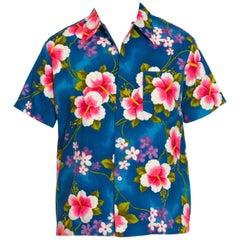 1970S Tropical Multicolored Cotton Barkcloth Men's Hawaiian Shirt