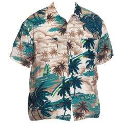 1970'S Tropical Rayon Men's 40'S Style Palm Tree Print Shirt