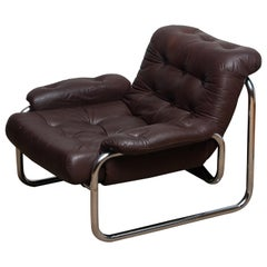 1970s, Tubular Chrome and Brown Leather Lounge Chair by Johan Bertil Häggström