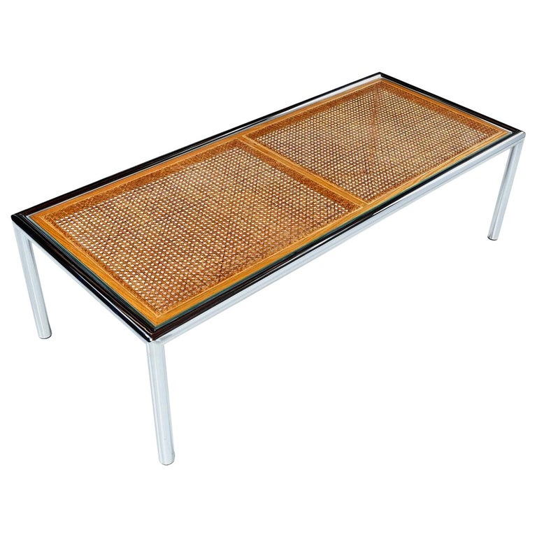 1970s Tubular Chrome Cane Glass for Design Institute Coffee Table For Sale