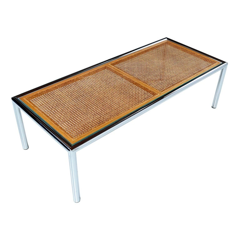 1970s Tubular Chrome Cane Glass Milo Baughman for Design Institute Coffee Table For Sale