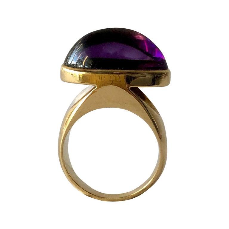 1970s Tuk Fischer for Georg Jensen 18 Karat Gold Amethyst Danish Modern Ring For Sale