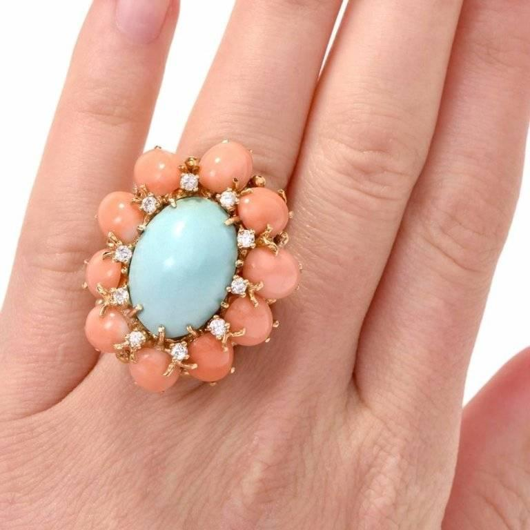 Artisan 1970s Turquoise and Coral Cabochon Diamond 18 Karat Gold Cocktail Ring For Sale