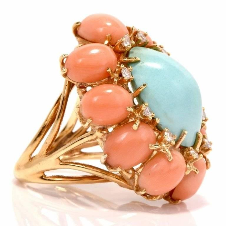 1970s Turquoise and Coral Cabochon Diamond 18 Karat Gold Cocktail Ring For Sale 1