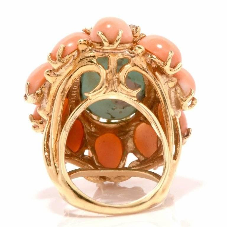 1970s Turquoise and Coral Cabochon Diamond 18 Karat Gold Cocktail Ring For Sale 2