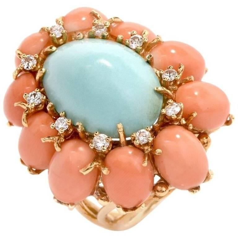 1970s Turquoise and Coral Cabochon Diamond 18 Karat Gold Cocktail Ring For Sale
