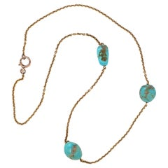 1970s Turquoise Nugget Necklace with Solid Gold Chain