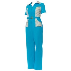 1970S Turquoise & Peach Polyester Double Knit Jumpsuit With Belt
