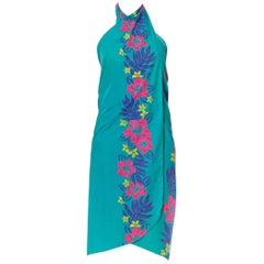 1970S Turquoise & Pink Cotton Hawaii Tropical Surf Beach Wrap Dress Swim Cover