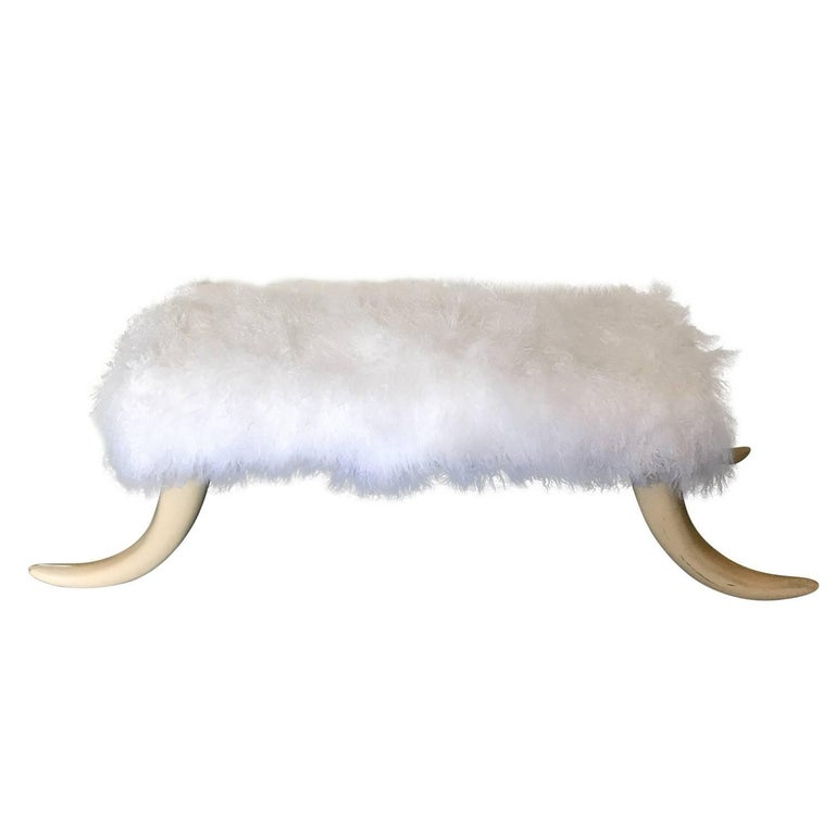 1970s Tusk Bench with New Natural Long Hair Goat Upholstery